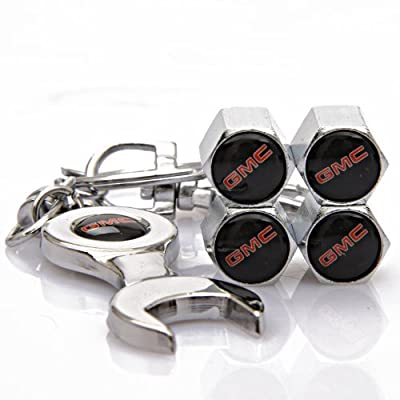 GMC Tire Valve Caps with Bonus Wrench Keychain(BW): Automotive