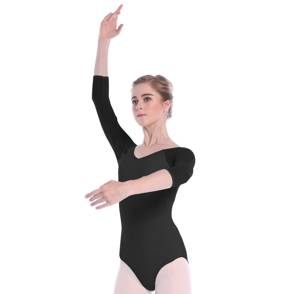 5727ddc15 Mesh Bodysuit for Women Ballet Dance Leotards 3 4 Sleeve Dancewear ...