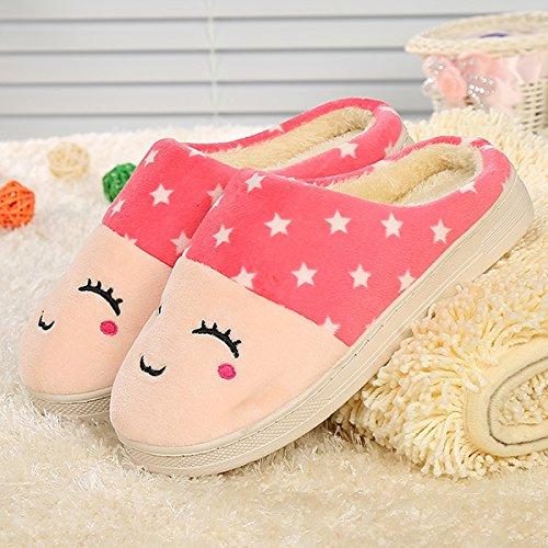 Y-Hui volto sorridente, Cotone pantofole, Home amanti, pantofole di cotone,40/41,Rosa