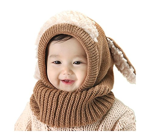 ZEYI Winter Baby Girl Boy Hat and Scarf Joint with Dog Style Crochet Knitted Caps