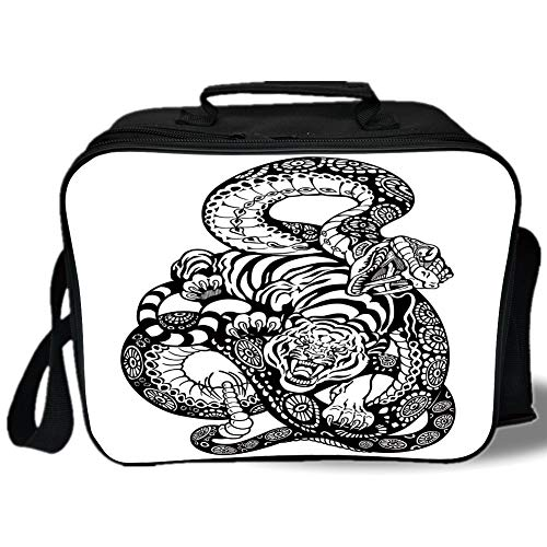 Tiger 3D Print Insulated Lunch Bag,Tattoo Style Scene of Two Animals Fighting Long Snake with Sublime Large Cat Battle,for Work/School/Picnic,Black White