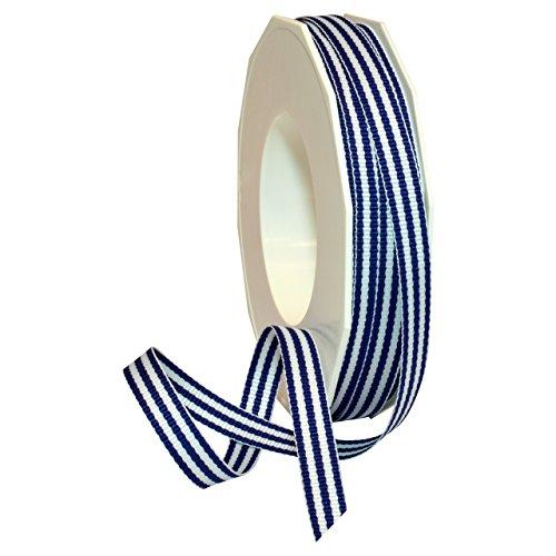 Morex Ribbon Polyester Grosgrain Striped Decorative Ribbon, Royal Blue, 3/8 ()