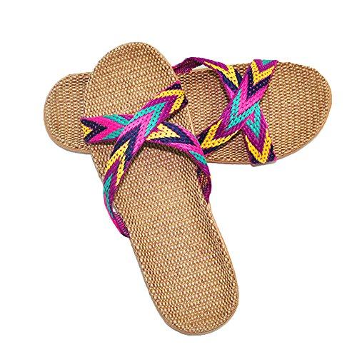 Shoes Women Slippers purple Men Home 8 Sandals Silent Summer Slipper Linen Sweat Indoor for HRFEER 7Eq6wUzpq