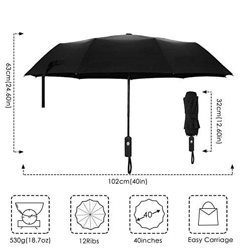 Regenschirm, Bodyguard 12-Rippen Winddicht Stockschirm Teflon Beschichteter Schirm mit 210T Stoff Auf-Zu-Automatik Transportabel Taschenschirm für Reisen Dunkelblaues Plaid