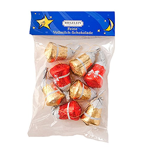 Riegelein Weihnachts Gloeckchen/Christmas Bells Chocolate Ornaments (8 Pieces/100g)