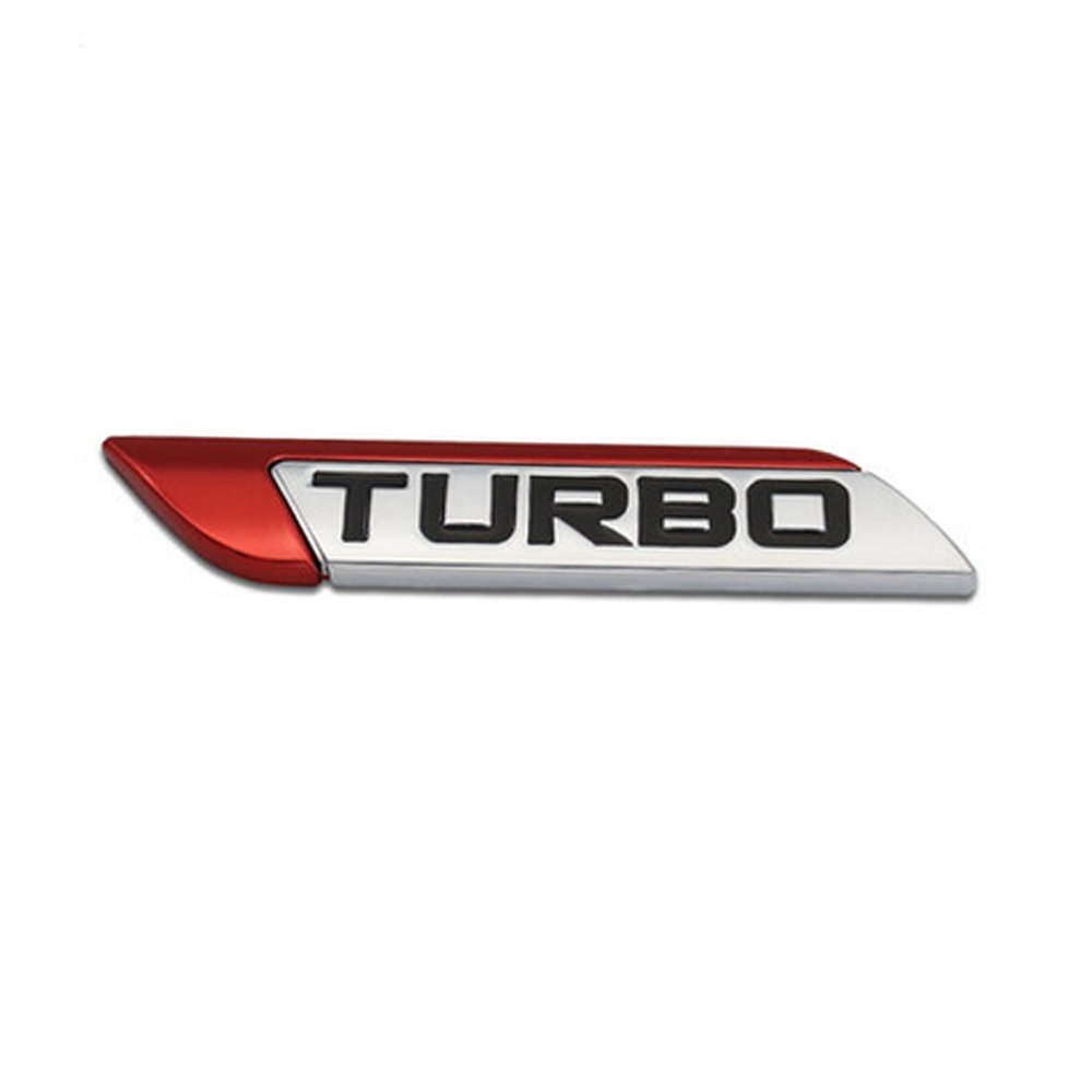 DSYCAR 3D Mé tal Turbo Turbocharged Autocollant De Voiture Logo Emblè me Badge Autocollant Stickers Car Styling (Rouge)