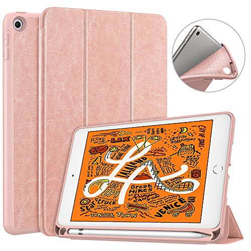 Dadanism iPad Mini 5 Case 2019 with Pencil Holder, [Strong Protection] Ultra Slim Lightweight Soft TPU Back Trifold Stand Smart Cover Fit New iPad Mini 5th Gen 7.9
