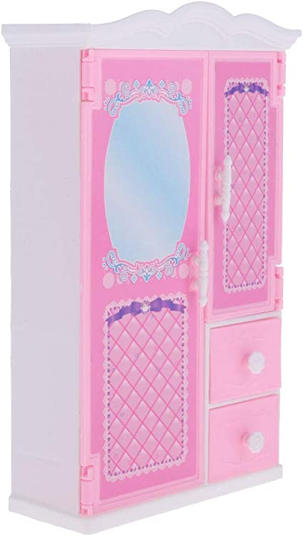 12 in White Pink Closet Wardrobe Mirror Furniture 11.5 in Doll House Girl Toy