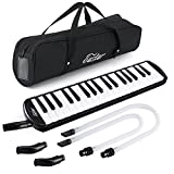Eastar Melodica 37 Key Melodica Instrument with Mouthpiece Air Piano Keyboard, Carrying Bag Black