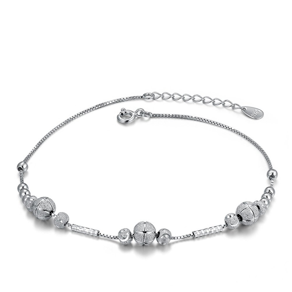 Embellishment Transit 925 Beads Silver Anklet//Simple Stylish Crystal Anklet
