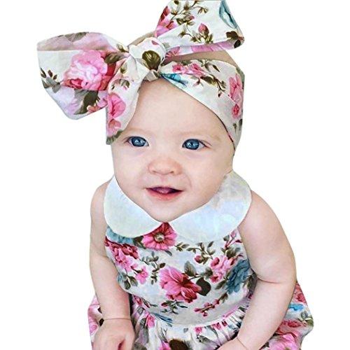 Connia Newborn Infant Fashion Outfits Set Baby Girls Floral Romper Jumpsuit Sunsuit+Headband Clothes Set 2Pcs (Size:18M) Disney Floral Romper