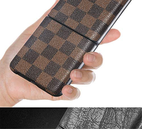 Samsung Galaxy Z Flip Case/Z Flip 5G Case Samsung Z Flip Plaid Pattern Leather Case, Ultra Thin Slim Durable Protective Phone Case Cover for Samsung Galaxy Z Flip (Brown)