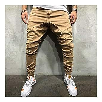 LUKEEXIN Jogger Elastic Men Ripped Skinny Jeans Biker Broken Slim Fit Denim Pants Harem Style Pants (Color : Khaki, Size : M)