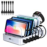 Charging Station 6 Ports USB - Fast Charging Stand with Smart Identification Tech, 6 Cables(3 Types), iWatch Holder, 50W Universal Charger for Multiple Device/Phone/Tablet/Kindle and More