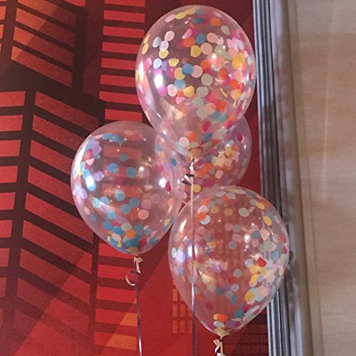 FindFun 12'' Rainbow Bright Confetti Balloons for Party Decoration (Pack Of -