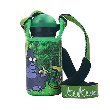 Laken Botella Kukuxumusu para niños con tapón Deportivo Hit 350 ml Mono con Funda de Neopreno
