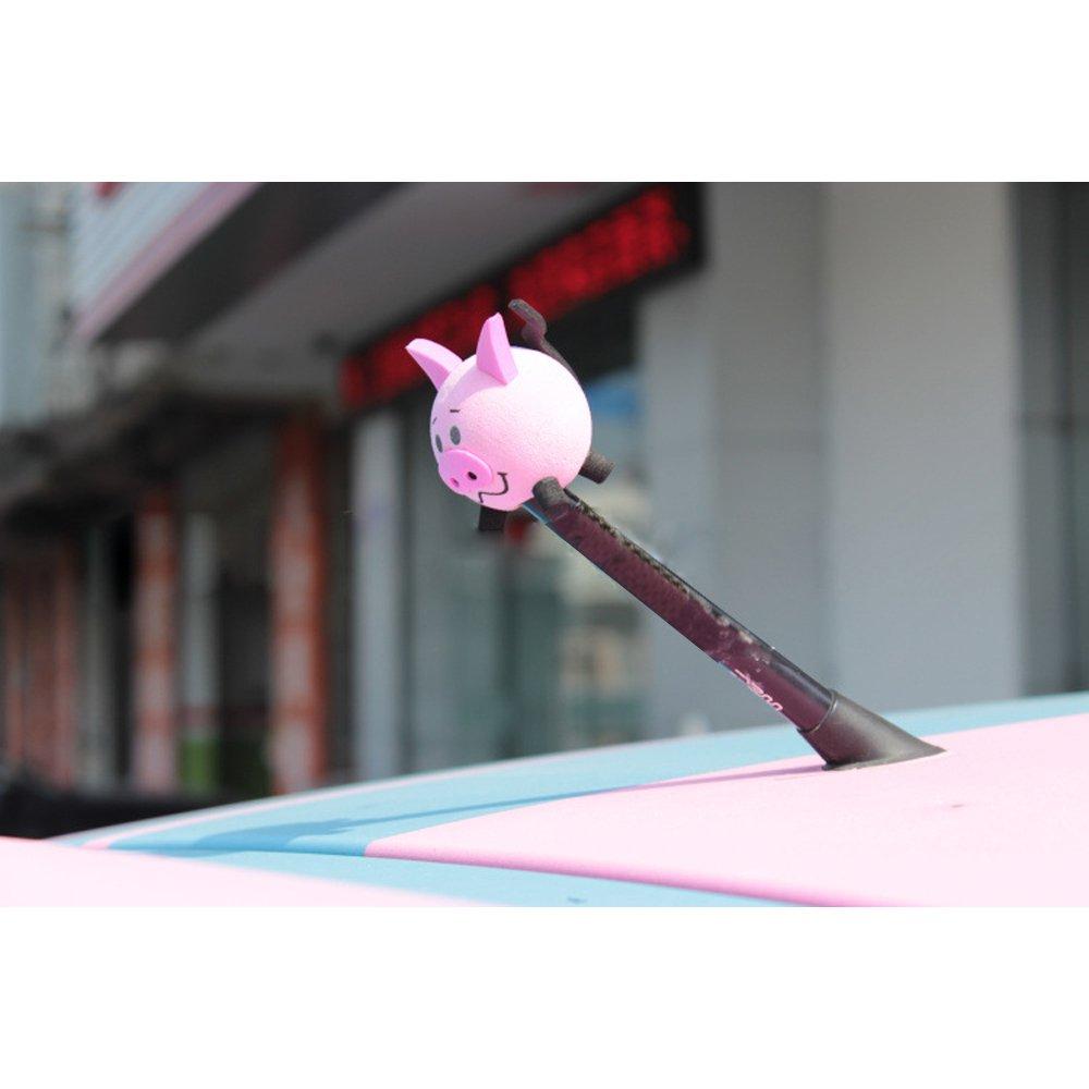 COGEEK Car Accessories Cute Pig Eva Decorative Car Antenna Topper Balls Pink