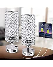Focondot Crystal Table Lamp,Perfect Bedside Nightstand Lamps for Living Room, Bedroom, Office