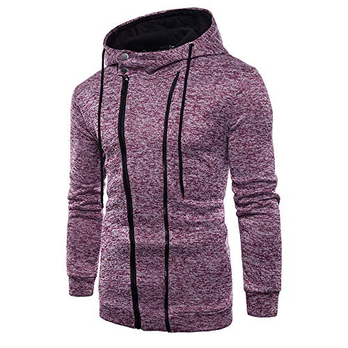 Toimothcn Men's Zipper Pocket Hoodie Pullover Long Sleeve Fitness Hooded Sweatshirt Top Outwear (Red,L)