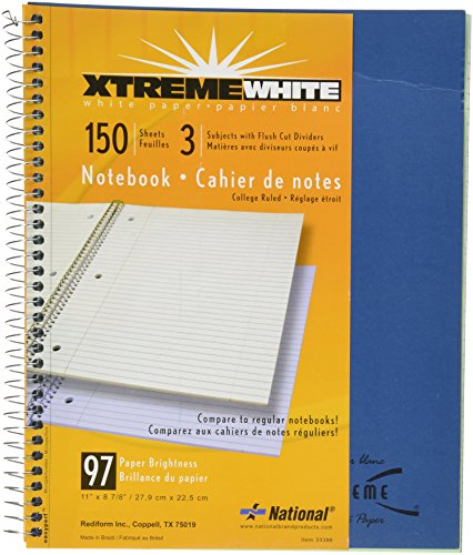 UPC 073333333862, Rediform 3-Subject Wirebound Notebook, College Rule, Letter Size (8.5 x 11), White, 150 Sheets (33386)
