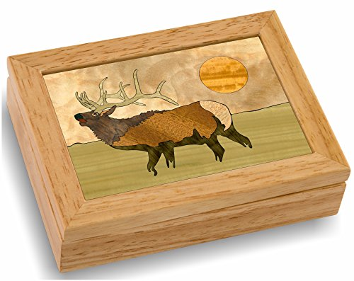 Elk Wood Art Gift Trinket Box & Jewelry Boxes - Handmade USA -Unmatched Quality - Unique, No Two are the Same - Original Work of Wood Art (#4107 Elk Calls 4x5x1.5)