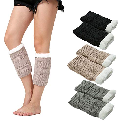 Women Winter Faux Fur Boot Cuffs Cover Crochet Knitting Short Leg Warmers 3 Pack (E) (Boot Sleeve Fur Faux)