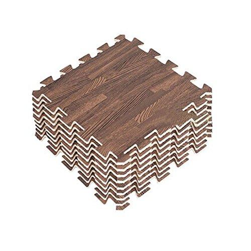 (Panda Superstore Soft Wood Interlocking Foam Tiles EVA Foam Floor Mats (8.64 Sqft, 9 Tiles,Brown))