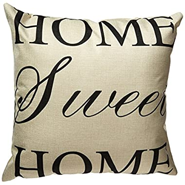 Generic LINKWELL  Home Sweet Home Simple Words Big Love  Burlap Cushion Covers Pillow Case, 18 x18 , Black/Grey