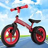 Fashine No-Pedal Balance Bike for Kids and Toddlers, Ages 2 to 6 Boys and Girls Self Balancing Sport Bicycle, Classic Run Bikes for Balance Training (RED)