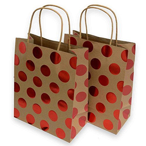 Kraft Gift Bags, foil hot-stamp polka-dot Design, 16 Medium bags, 8