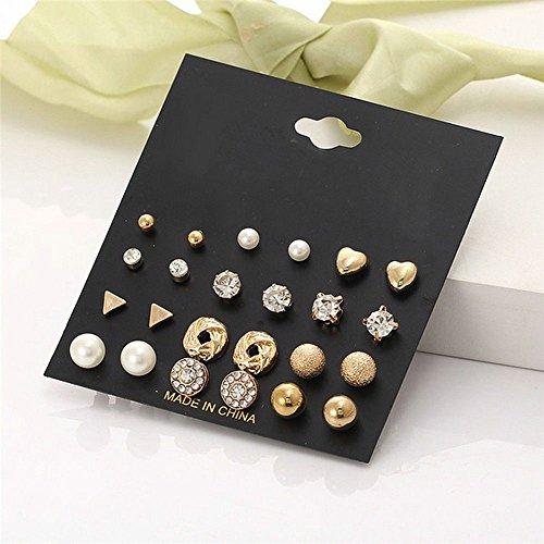 ERAWAN 12Pairs Women Girl Fashion Pearl Crystal Heart Stud Triangle Earring Set Jewelry EW sakcharn (Gold) Stud Earrings Jewelry Set