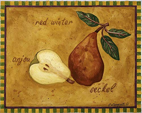 (Pear Red Winter Anjou Seckel by Andrea Strongwater Laminated Art Print, 15 x 12 inches)