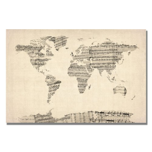 Old Sheet Music World Map Artwork by Michael Tompsett, 18 by 24-Inch Canvas Wall Art