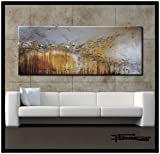 Extra Large Modern Abstract Canvas Wall Art. Limited Edition, Hand Embellished Giclee on Canvas, HUGE! 60 x 24 x 1.5 Ready to Hang! ''ENGAGING GRACE''