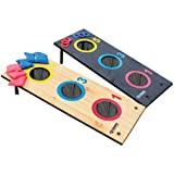 Triumph Sports USA 35-7071 is a 2 in 1 3 Hole Bag Toss and Washer Toss Game in Black and Natural Wood Color