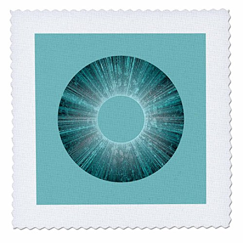 - 3dRose Andrea Haase Art Illustration - Abstract Art Blue Iris On Turquoise - 22x22 inch Quilt Square (qs_282500_9)