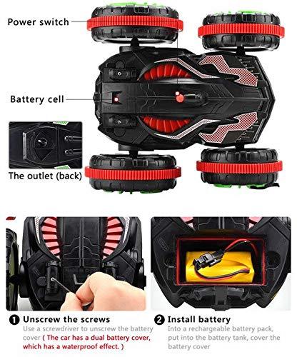 DishyKooker 1:18 RC Auto acrobático 360 Rotación Control Remoto conducción en Agua y Tierra Amphibious Electric Toys niños Negro: Amazon.es: Hogar