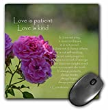 3dRose LLC 8 x 8 x 0.25 Inches Mouse Pad, Pretty Pink Roses Love Is Patient Bible Verse Inspirational (mp_110502_1)
