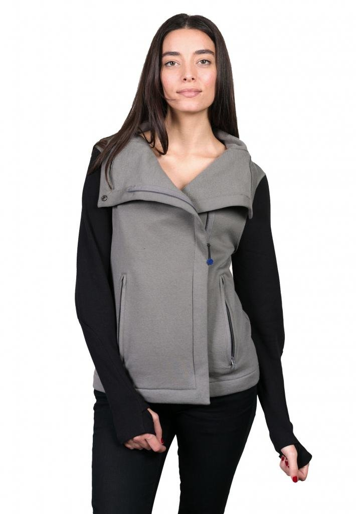 Give Apparel Meaning Women's Moto Jacket-Small-Grey/Black