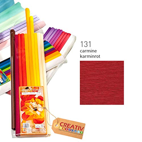 Karminrot CREATIV DISCOUNT/® NEU Premium Feinkrepppapier 10er Pack