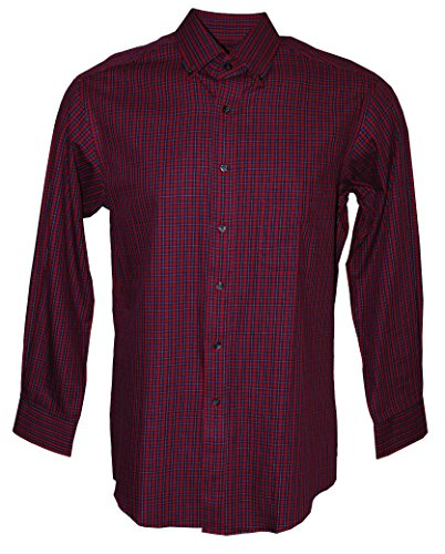 Club Room Men's Long Sleeve Regular Fit Plaid Button Down Shirt (Red, 15/32-33) ()
