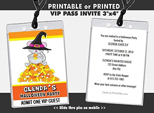 Candy Corn Mouse Halloween Party VIP Pass Invitation, Printable or Printed Option