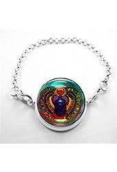 Scarab Bracelet Glass Tile Bracelet Glass Tile Jewelry Scarab Egyptian Bracelet Egyptian Silver Bracelet