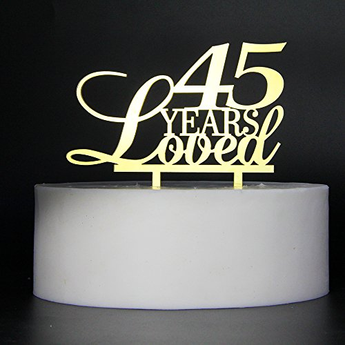 LOVELY BITON Gold 45 Years Loved Cake Topper Shining Numbers Letters for Wedding, Birthday, Anniversary, Party.