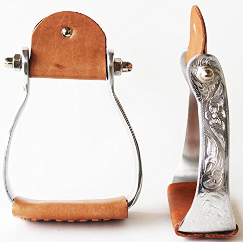 PRORIDER Horse Western Barrel Racing Saddle Aluminum Stirrups Leather Tread Engraved 5198
