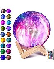 Laelr Księżyc lampa, 16 kolorów 3D drukowane pełne światło księżyca USB ładowalna lampka nocna LED nowoczesna lampa podłogowa ściemniana sterowanie dotykowe lampa stołowa jasność światło na festiwal dzieci Boże Narodzenie urodziny przyjęcie