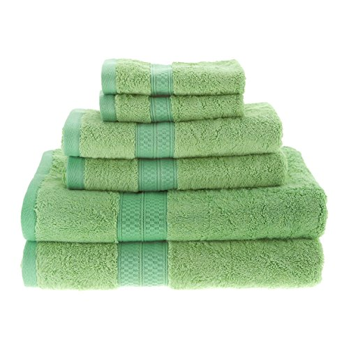 (Blue Nile Mills 6-Piece Towel Set, Soft Rayon from Bamboo, Quick Dry, Spring Green)