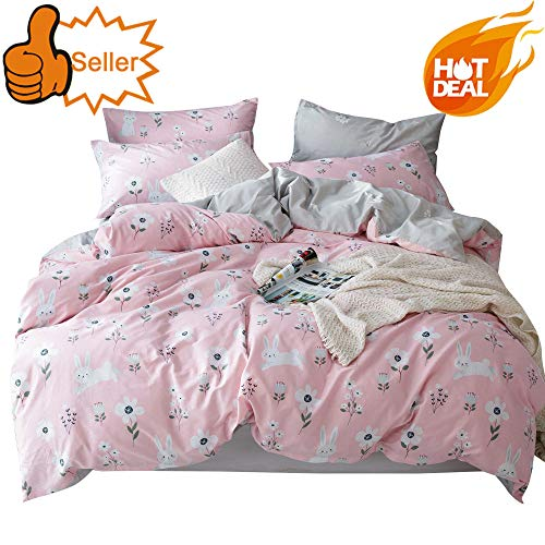 (OTOB Cartoon Rabbits Bunny Twin Duvet Cover Set for Kids Toddler 100% Cotton Lightweight Breathable 3 Pieces Pink Girls Bedding Set with Pillowcases Reversible Child Flower Floral Bed Gift Sets, Twin )