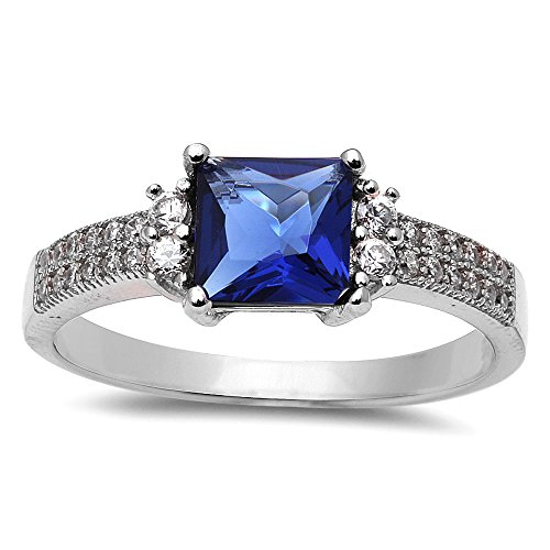 Princess Cut Simulated Blue Sapphire & Cubic Zirconia .925 Sterling Silver Ring Size (Cut Sapphire Ring)