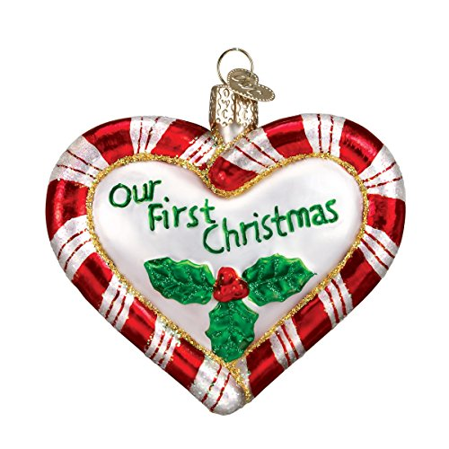 (Old World Christmas Glass Blown Ornament S-Hook Gift Box, Wedding Collection (Peppermint Heart))